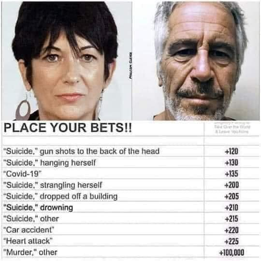 place your bets maxwell suicide epstein accident covid murder other