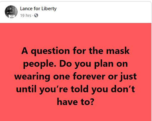 quote lance for liberty mask wearers forever or until told dont have to