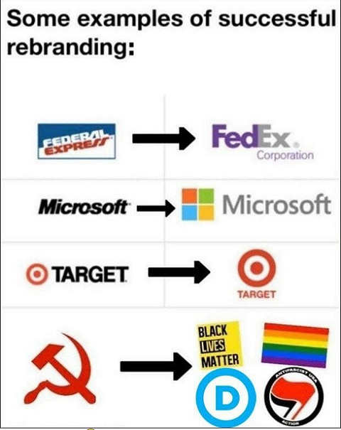 successful rebranding fed ex microsoft target soviet union communism blm democrats antifa pride flag