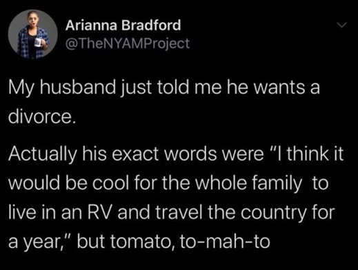 tweet bradford husband says wants to divorce lets do whole family rv across country