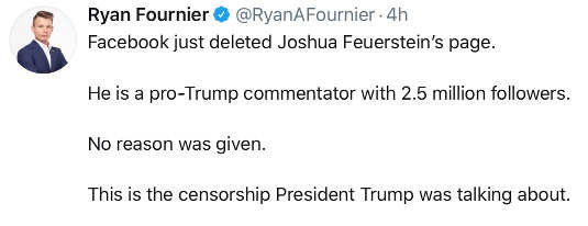tweet fournier facebook deleted joshua feuerstein page 2.5 million followers