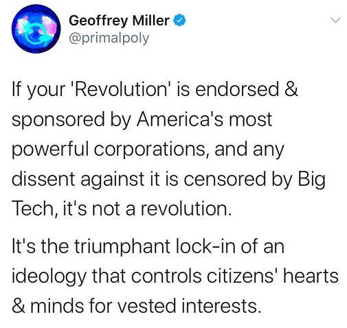 tweet if your revolution endorsed sponsored by corporactions censored big tech lock in of ideology