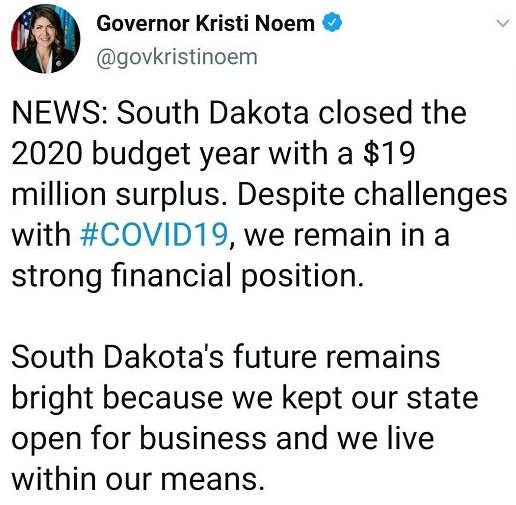 tweet kristi noem south dakota surplus covid 19 open for business