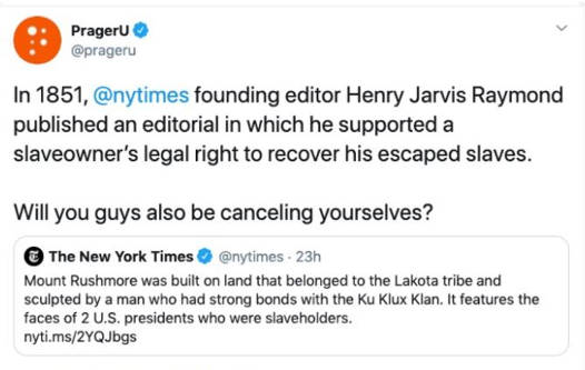 tweet prager u new york times founder editorial supported slaveowner rights cancel yourselves