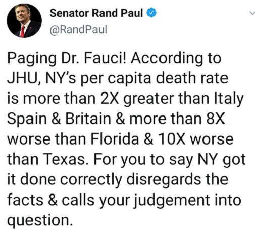 tweet rand paul dr fauci per capita death rate ny fl texas judgement