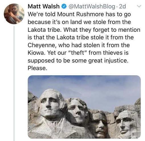 tweet theft of mount rushmore matt walsh lakota
