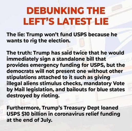 debunking lefts latist lie trump usps funding