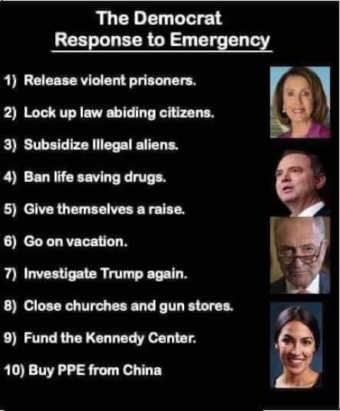 democrat response to emergency release prisoners investigate trump ban life saving drags lock up citizens steps