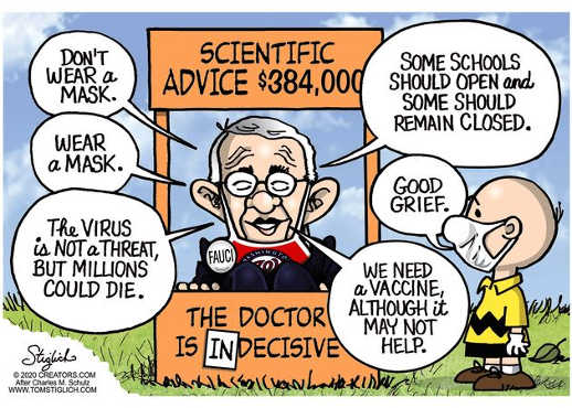 dr fauci scientific advice wear mask dont virus not threat millions die charlie brown