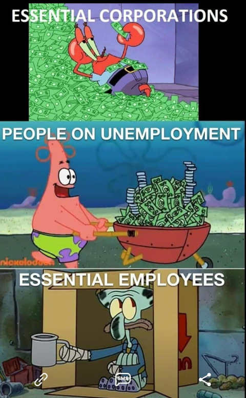 essential corporations rich unemployment employees living in box