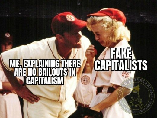 explaining no bailouts in capitalism fake capitalists crying in baseball hanks