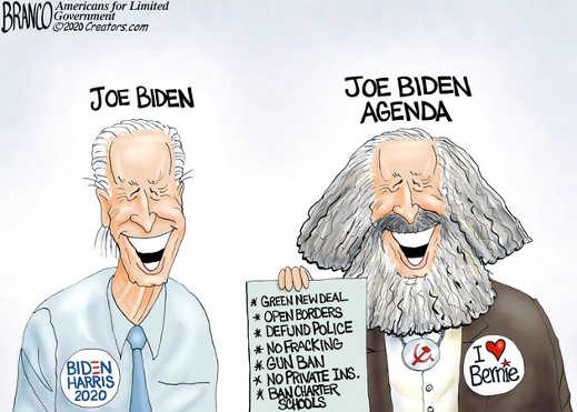joe biden agenda karl marx love bernie green new deal open borders defund police