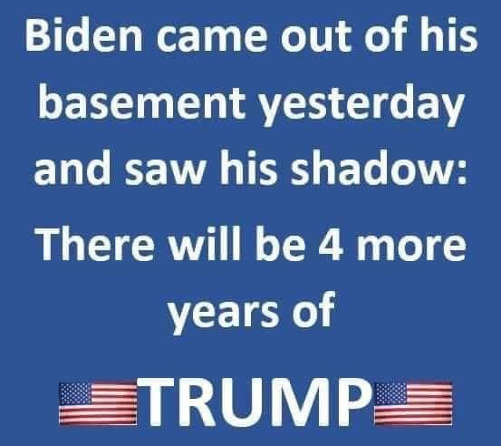 joe biden came out of basement saw shadow 4 more years of trump