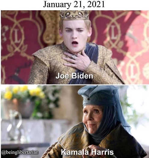 joe biden inauguration poisoning kamala harris laughing game of thrones