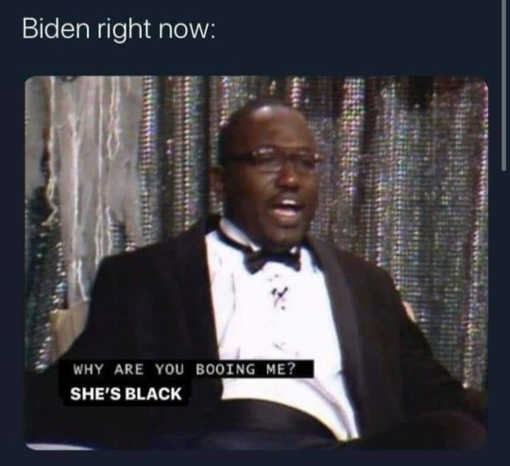 joe biden right now why are you booing me shes black