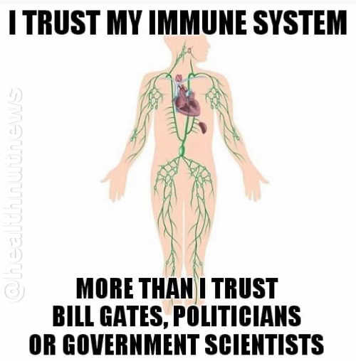 message i trust my immune system more than bill gates politicians or government scientists