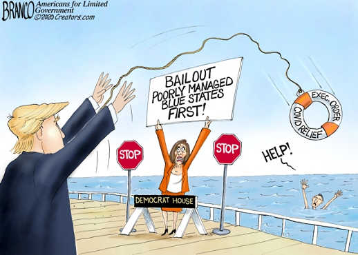 pelosi bailout poorly managed states first trump throwing preserver to people drowning
