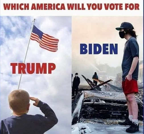 question what america will you vote for patriotic flag trump riots destruction masks joe biden