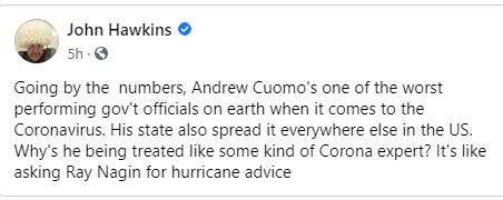 quote john hawkins cuomo worst coronavirus like asknig ray nagin for hurricane advice