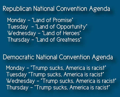 republican national convention land of promise opportunity heroes dnc trump sucks america racist