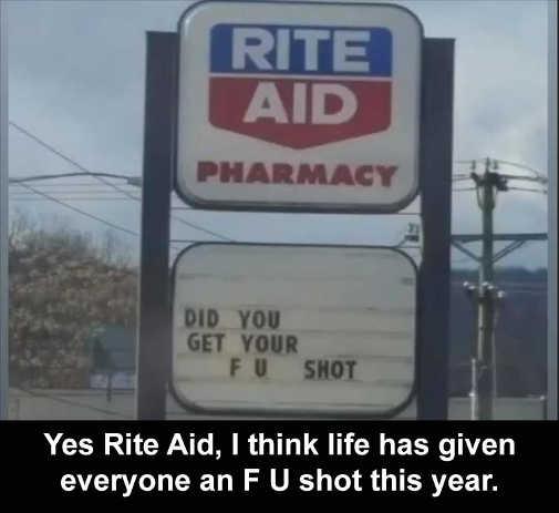 sign rite aid pharmacy get your f u shot