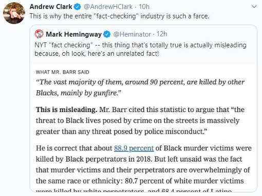 tweet andrew clark new york times fact checking barr unrelated stat