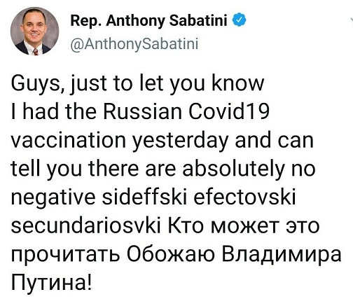 tweet anthony sabatini just had russian vaccination no side effects russian