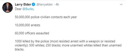 tweet larry elder dear bucks police interaction blacks whites stats