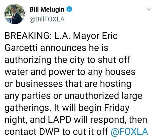 tweet melugin la mayor shutting off water power parties unathorized gatherings