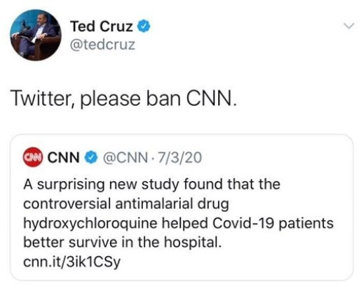 tweet ted cruz twitter please ban cnn hydroxychloroquine