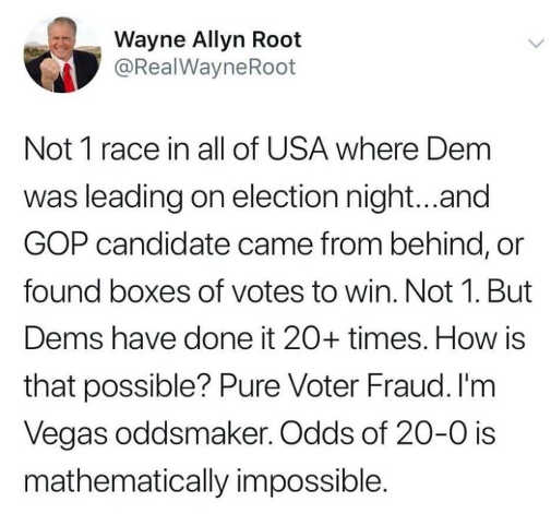 tweet waybe root not 1 race election night gop candidate came from behind 20 times democrat