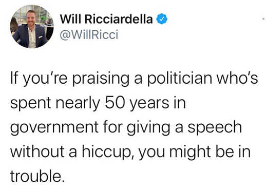 tweet will ricciardella if praising politician 50 years in government speech without hiccup might be in trouble