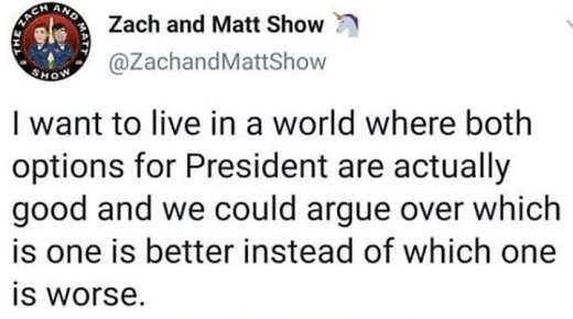 tweet zach matt want to live in world both options for president good