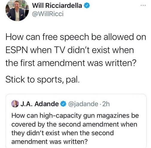 tweets will ricciardella espn ja adande free speech 2nd amendment
