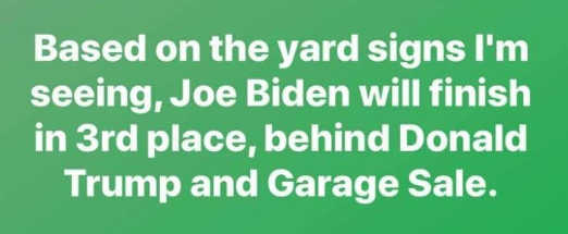 based on number yard signs biden finish 3rd behind trump and garage sale