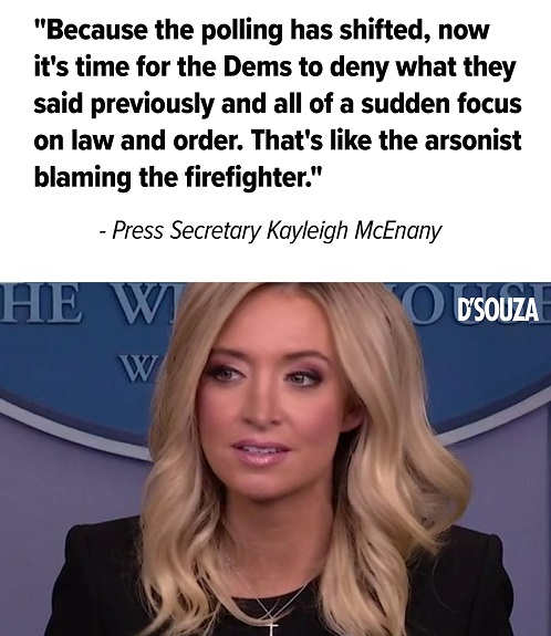 because polling shiften law order arsonist blaming firefighter kayleigh mcenany