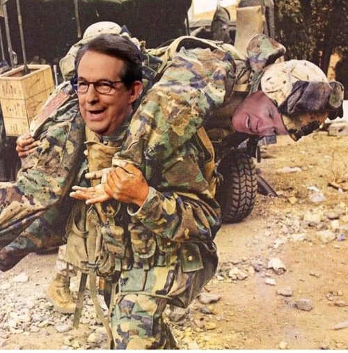 chris wallace soldier carrying biden on his back