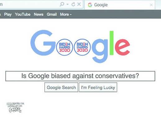 google biased against conservatives biden harris 2020 in logo