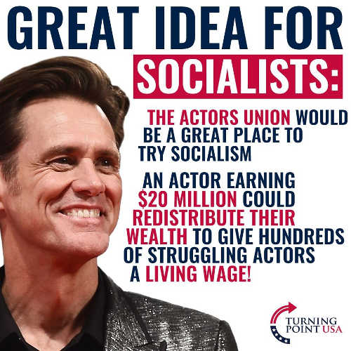 jim carrey great idea for socialists actors union redistribute wealthy to struggling actors