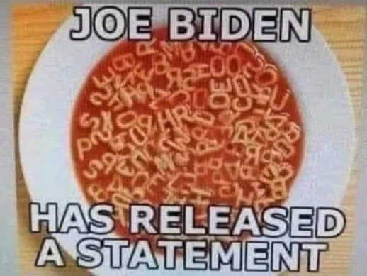 joe biden has released a statement alphabet soup