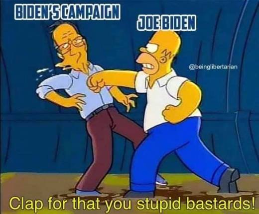 joe biden punching own campaign homer simpson clap for that stupid bastards