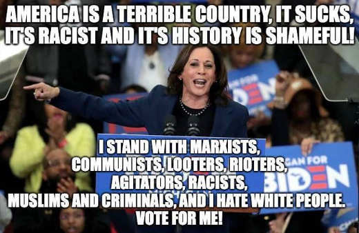 kamala harris america terrible racist country stand with marxists looters hate white people vote forme