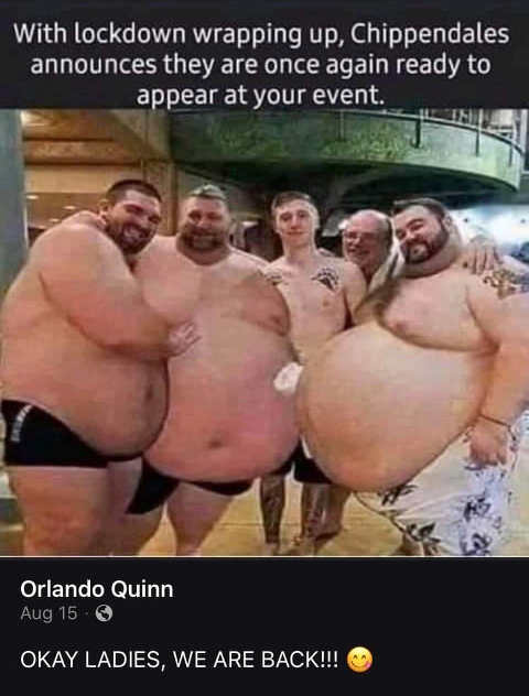 lockdown ended chippendales anounces appear event fat guys