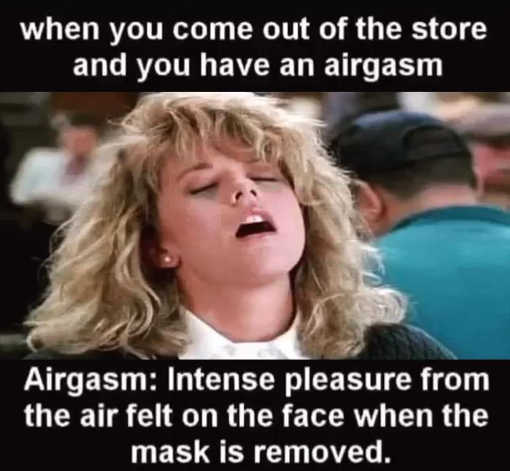 meg ryan when you come out of store have airgasm face mask is removed