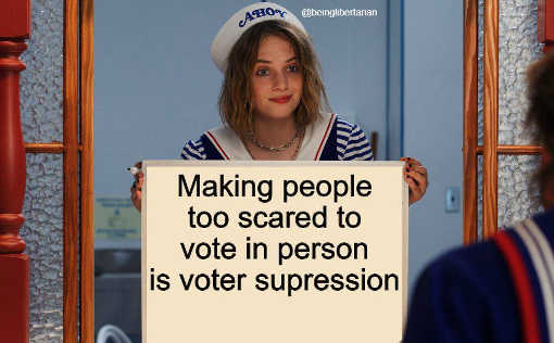 message making people too scared vote in person is voter supression
