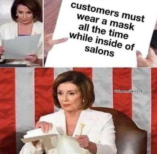 nancy pelosi customers must wear facemask salons all time tearing up
