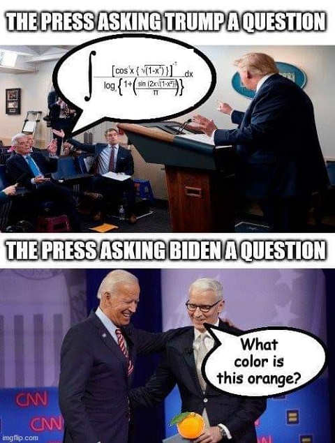 press asking trump a question trigonometry cnn biden what color is this orange
