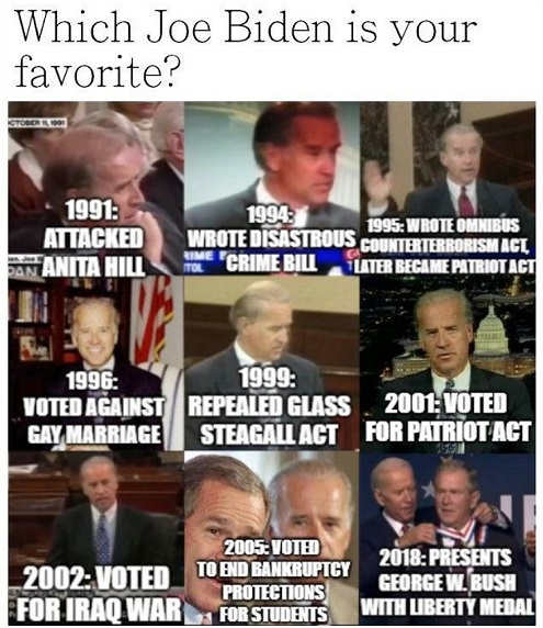 question which joe biden favorite crime bill against gay marriage liberty medal george bush iraq war