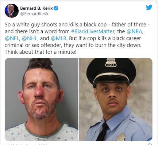 tweet bernard kerik blm white crimiinal shoots cop not mentioned by nfl mlb nhl nba