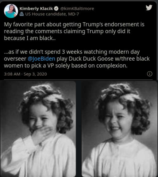 tweet kimberly klacik favorite part trump endorsement only because black after biden picked vp based solely on race